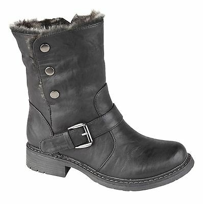 Girls Kids Ankle Boots Press Stud Fastening Zip Faux Fur Collar Shoes Size