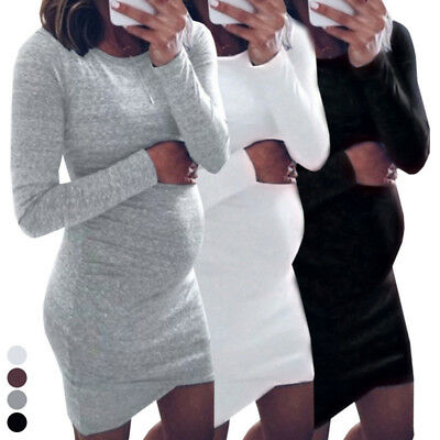 Women Long Sleeve Knit Maternity Dresses Pregnant Mother Stretch Bodycon Dress