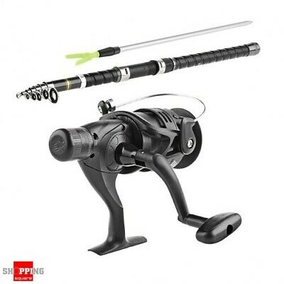 2.7m Portable Telescopic Fishing Rod and Spinning Reel Bundle with Case black