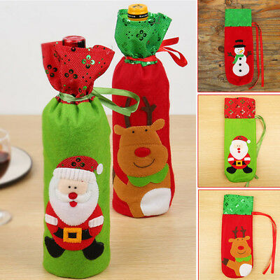 Portable Reusable Sequin With Cover Cloth Fabric Embroidery Wine Bottle Bag