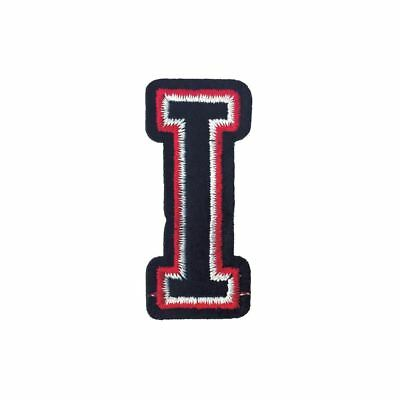 Black and Red Letter I (Iron On) Embroidery Applique Patch Sew Iron Badge