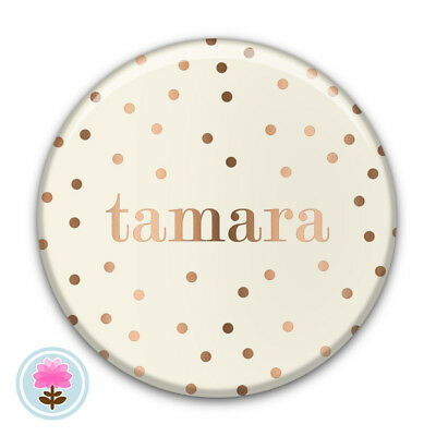 Personalised DOT Ivory/Rose Gold POCKET MIRROR 58mm Wedding/Birthday Favour/Gift