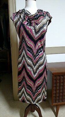 Trina Turk Colorful Pink Black White Graphic Cap Sleeve Spring Dress Size 4