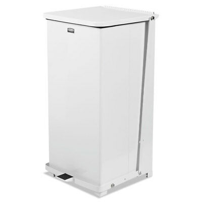 """Rubbermaid  Commercial Defenders Square Quiet Step Can, 24 Gal, Sky White, 15"""" S"""