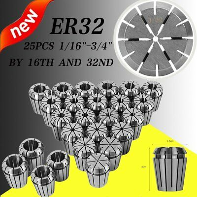 ER32 Collect 25PC Set 1/16-3/4 by 16th 32nd Tools Spring Collet Accurate NEW