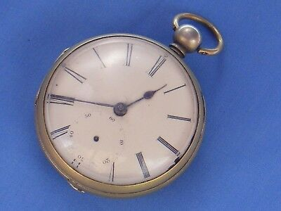 Antique Key Wind Pocket Watch, Fusee Movement, Silver Plated (Rubbed)