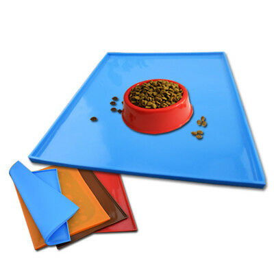 Non Slip Dog Cat Spillproof Feeding Mats Silicone Food Pet Tray Durable 4 Colors