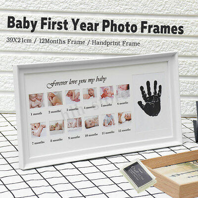 Baby Photo Frame Handprint Footprint 12 Months Picture Ink Pad Kit Xmas Gift