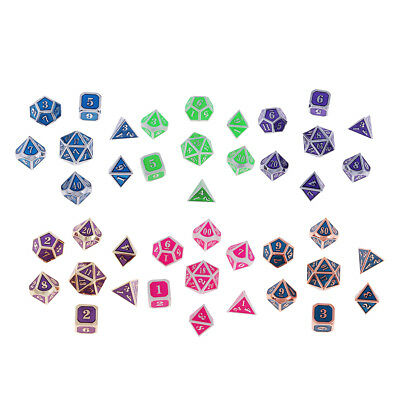 7x Zinc Alloy d4 d6 d8 d10 d12 d20 Dice Milti-Sided Numberal for MTG RPG DND