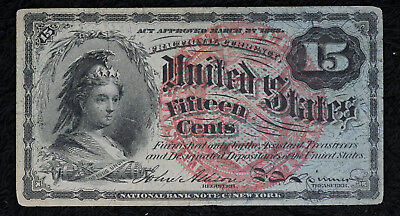 Nice Very Fine 1863 Fractional Currency 15 Cent Note - Fourth Issue.