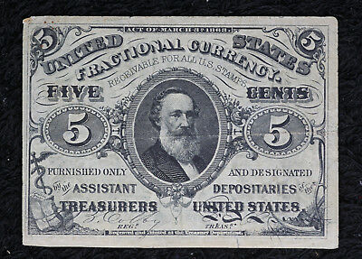 Nice 1863 Fractional Currency 5 Cent Note - Third Issue.