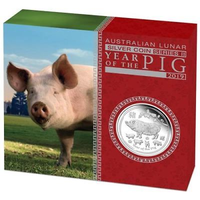 Australian Lunar Silver Coin Series Ii 2019 Year Of The Pig 1 Oz Silver Proof
