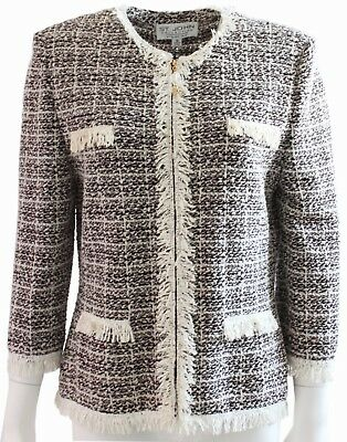 St. John Collection by Marie Gray Boucle Knit Jacket with Fringe Size 10