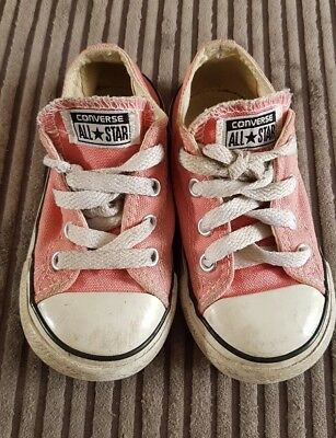 Converse All Star Girls Pink White Baby toddler trainers uk infant Size 7