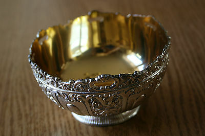 vtg silver plated leonard metal ornate bowl copper gold color inside