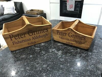 2 Vintage Style Wooden Handle Box/trug- Peter Grimes -Alderburgh 29cm And 33cm
