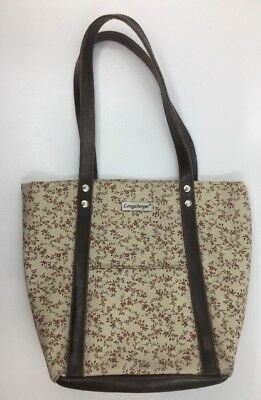 "Longaberger Floral Flowers Brown Cream Leather Tote Shoulder Bag Purse 9"" x 8"""