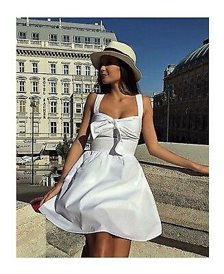BNWT Zara White Poplin Bow Front Dress Size XS RRP$49.99 Blogger Fav Sold Out!