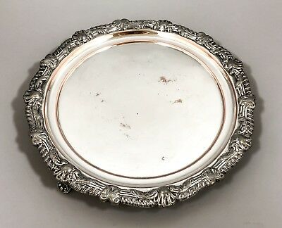 Georgian Old Sheffield silver on copper ornate small card tray Chippendale