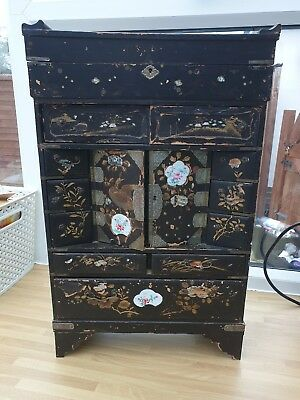 Lovely Antique Oriental Lacquered Table Jewellery Cabinet