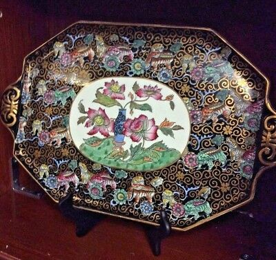 Antique 19th C. English Ashworth Porcelain Platter with Foo Dogs