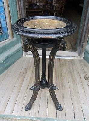 Victorian Aesthetic Ebonized Stand W Figural Metal Top