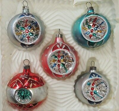 Vintage Lot of 5 Glass INDENT Mica Christmas Ornaments
