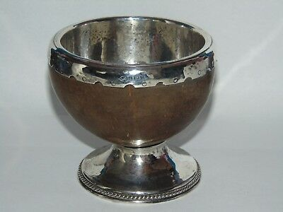 RARE ANTIQUE ALBERT EDWARD JONES 1928 SILVER LINED COCONUT CUP on SILVER BASE