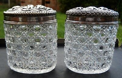 Impressive pair Antique Indian Solid Silver mounted Toilet Jars; Madras c1890