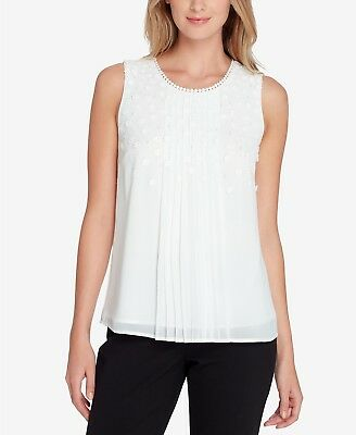 $210 Tahari Asl Women's White Floral Applique Faux-Pearl Sleeveless Top Size Pm