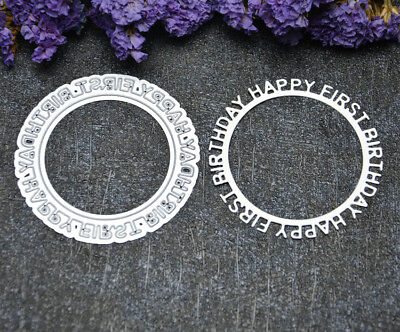 Happy Birthday Circle Frame metal cutting dies cuts paper card making Stencil