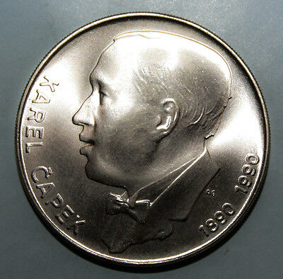 Czechoslovakia 100 Korun 1990 Brilliant Uncirculated Silver Coin - Karel Capek
