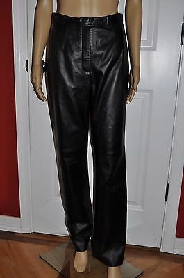 Vtg 80s Black Soft LEATHER High Waist Moto ROCKER Motorcycle Pants Trousers S/6