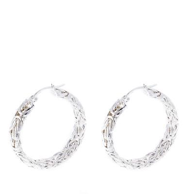 Sevilla Silver 30mm Byzantine Hoop Earrings