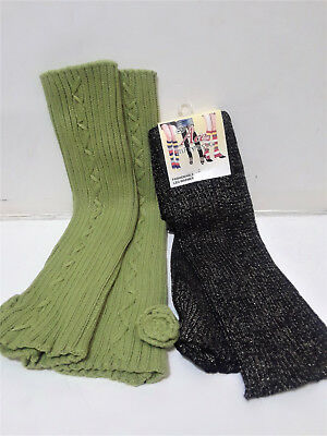 Fashion Warm Winter Lot of 2 Pairs Leg Warmers Black Glitter Shiny Green Flower