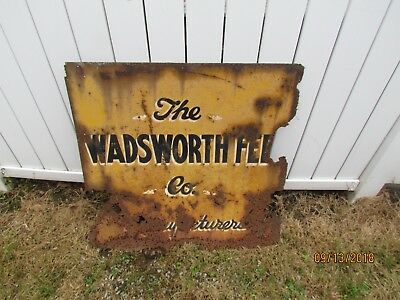 Antique Vintage Wadsworth Feed Sign Roached Out Man Cave Sign