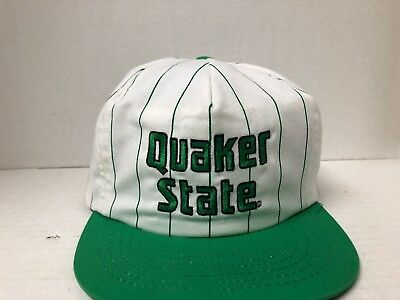 Vtg Quaker State Racing White Green Pinstripes Embroidered Trucker Snap Back Hat