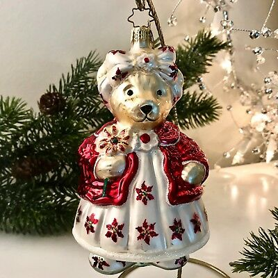 Radko MUFFY PICKING POSIES Glass Christmas Ornament RED & WHITE Color Variety