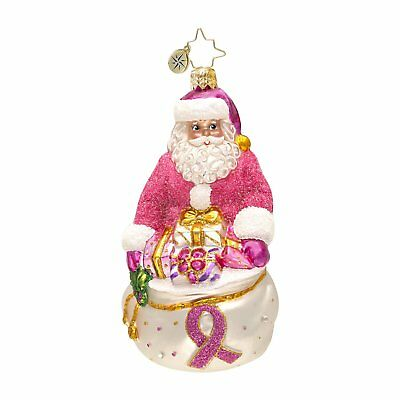 Christopher Radko Think Pink Nick Breast Cancer Christmas Ornament - (retired)