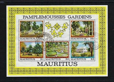 Mauritius -- Pamplemousses Gardens -- used souvenir sheet from 1980