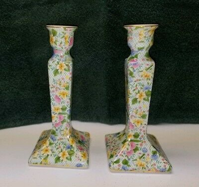 "Dana Floral Chintz 8"" Tall PAIR Candle Sticks Holders Pastel Twos Company"
