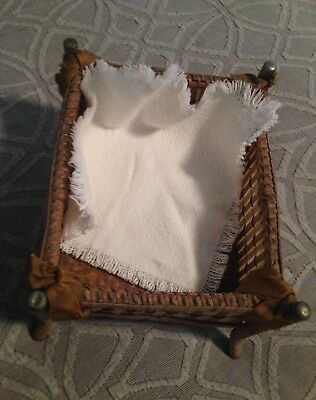 Antique Wood, Rattan, Weaved Doll Play Pen All original, RARE! 1800's Attic Find