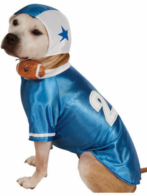Football Player Dog Costume  - LARGE - BLUE - Helmet & Ball - Halloween - NWT