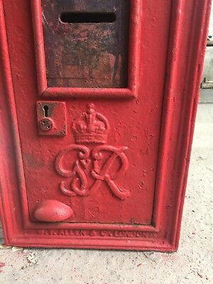 Royal Mail GPO post box wall mounted old red letter box 1900s original GviR 6th