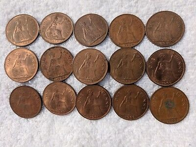Lot Of 15 English Large One Cent Coins In Date Run 1962 To 1965 / Uk Copper#78A