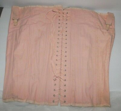 Vintage Antique-ish Old Peachy Pink Corset Girdle Lace Up and Hook Closure