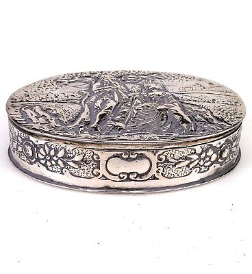 Silver Embossed Repousse Trinket Box Marked 800