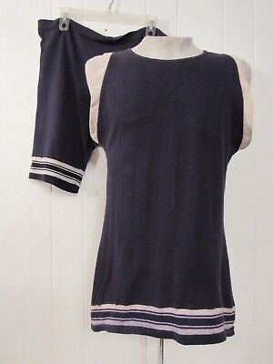 Vintage 1910s t shirt and cotton knit swimsuit large