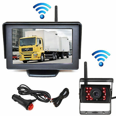 "Wireless 4.3"" Monitor Screen IR Car Rear View Backup Camera for Rv Truck Trailer"