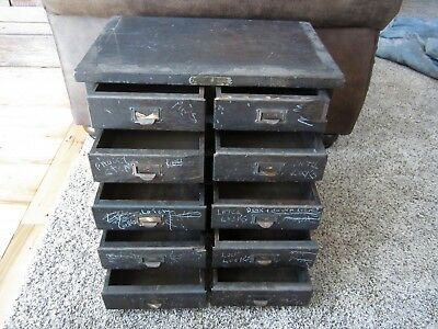 Primitive Tiger Oak Arts & Crafts Hardware Parts File Cabinet 10 Drawer Chest